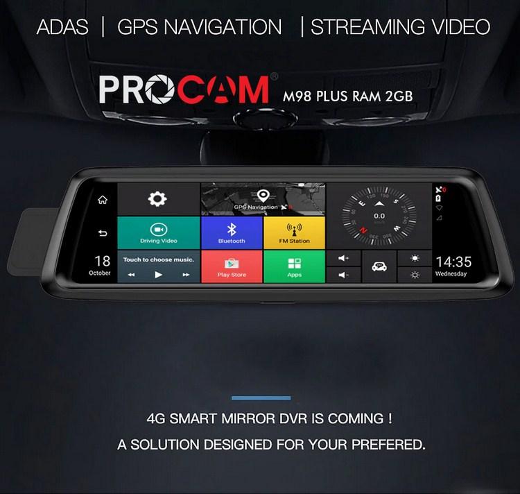 Camera hành trình cao cấp dành cho oto procam m98 10 Inch ram 2GB